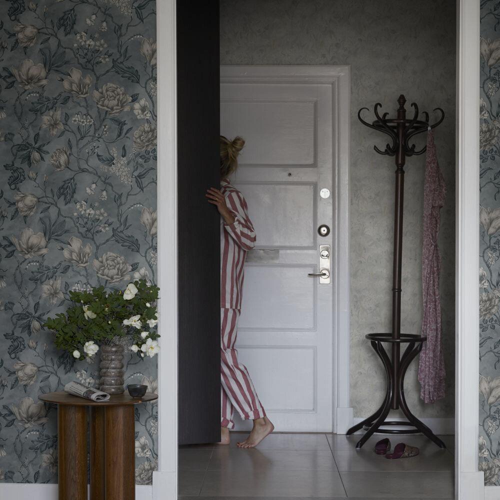Linda Wallpaper - Misty Blue - by Sandberg