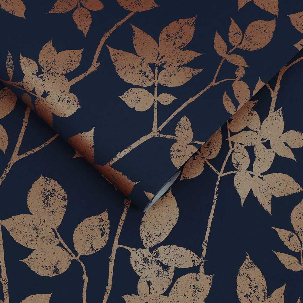 Luna Wallpaper - Navy / Gold - by Graham & Brown