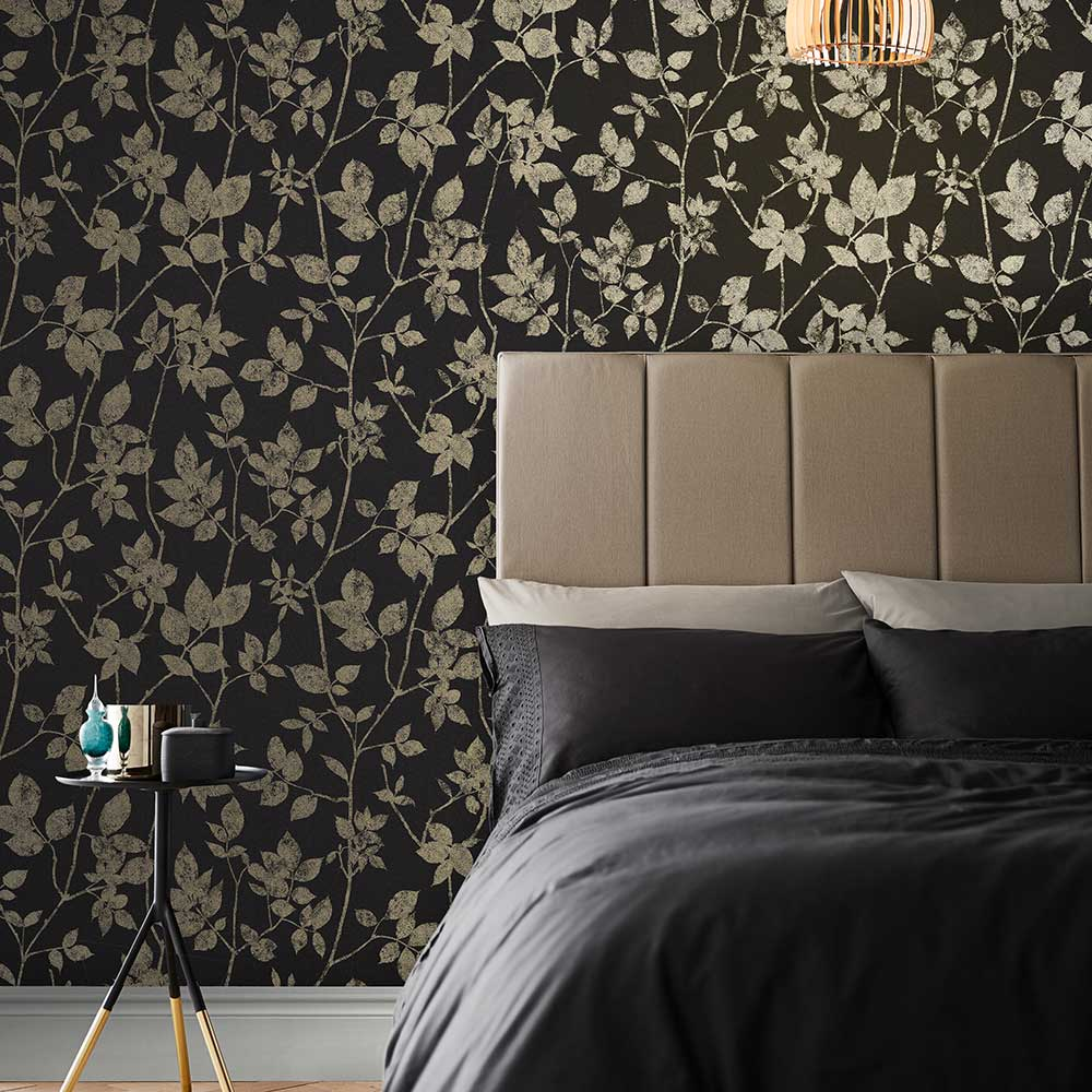 Luna Wallpaper - Charcoal - by Graham & Brown
