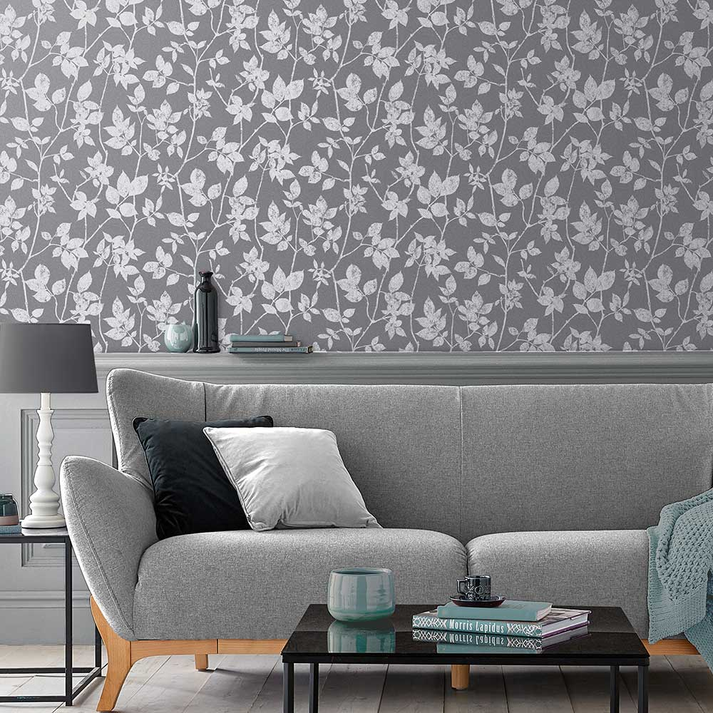 Luna Wallpaper - Pepper - by Graham & Brown