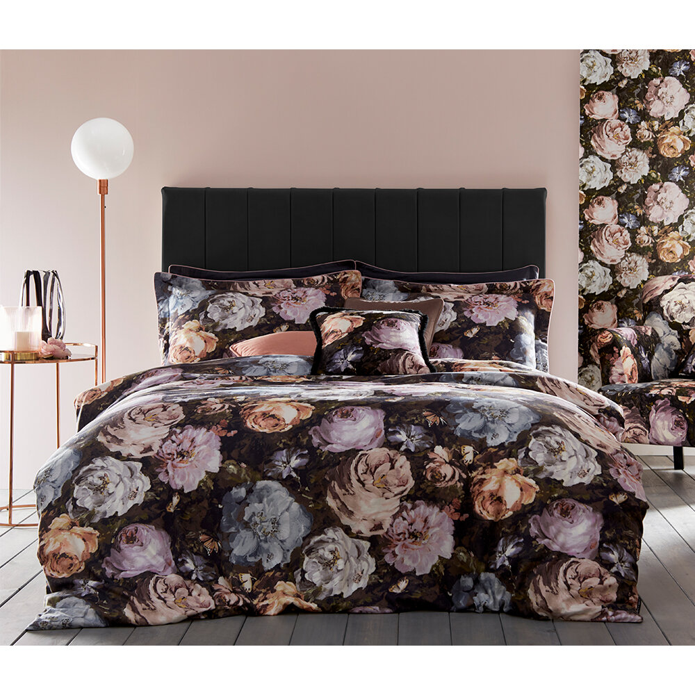 Floretta Superking Duvet Set Duvet Cover - Blush/ Charcoal - by Clarke & Clarke