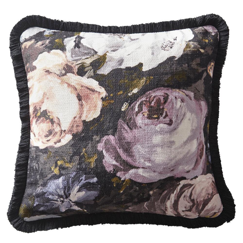 Floretta Cushion - Blush/ Charcoal - by Clarke & Clarke
