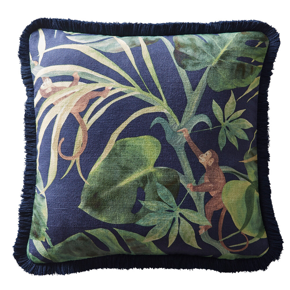 Monkey Business Cushion - Indigo - by Clarke & Clarke