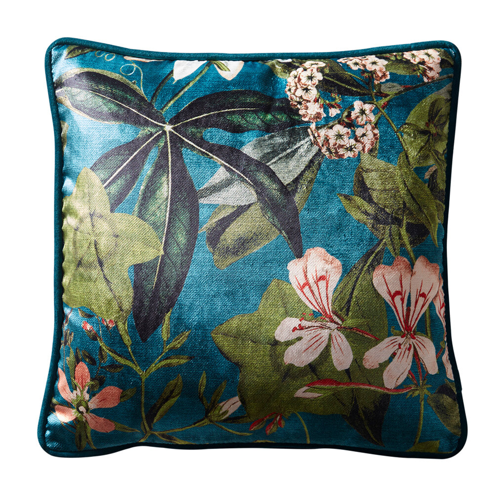 Passiflora Cushion - Kingfisher - by Clarke & Clarke