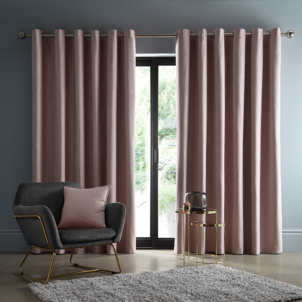 Arezzo Blackout Curtains Ready Made Curtains - Blush - by Studio G