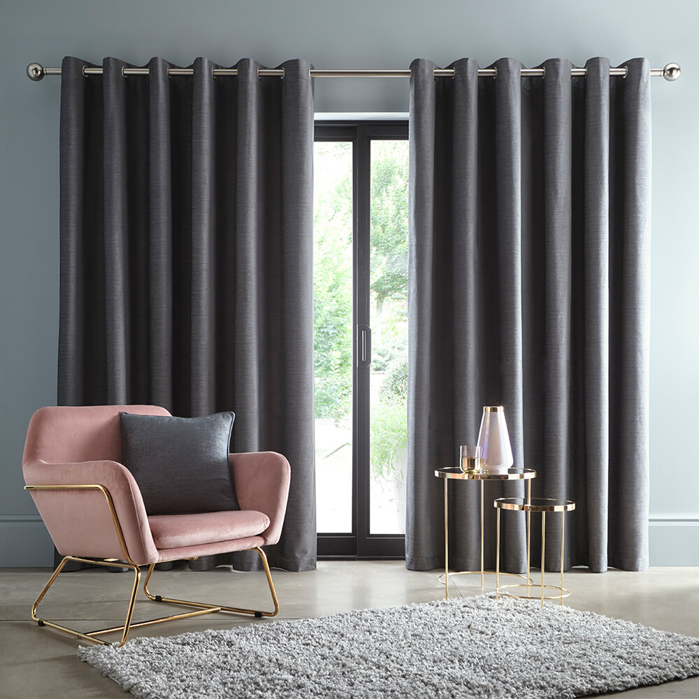 Arezzo Blackout Curtains Ready Made Curtains - Charcoal - by Studio G