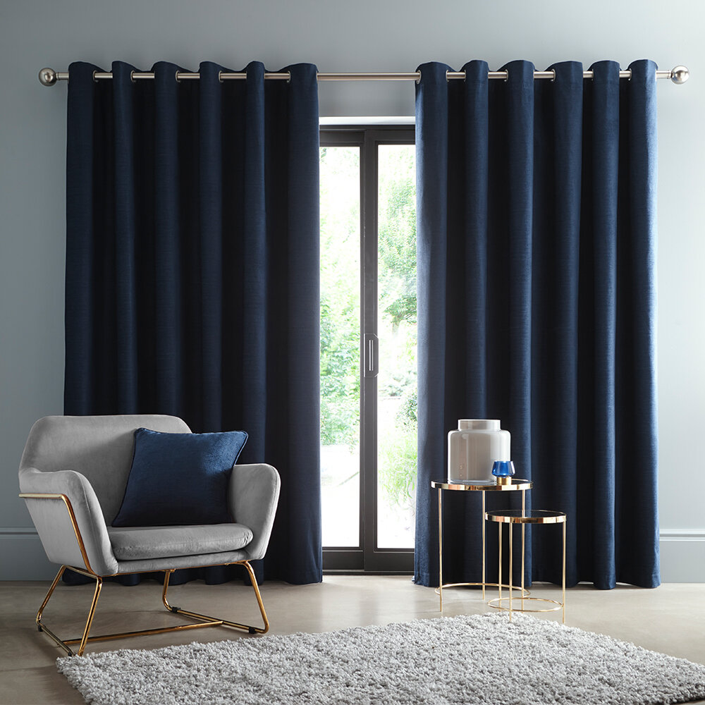 Arezzo Blackout Curtains Ready Made Curtains - Midnight - by Studio G
