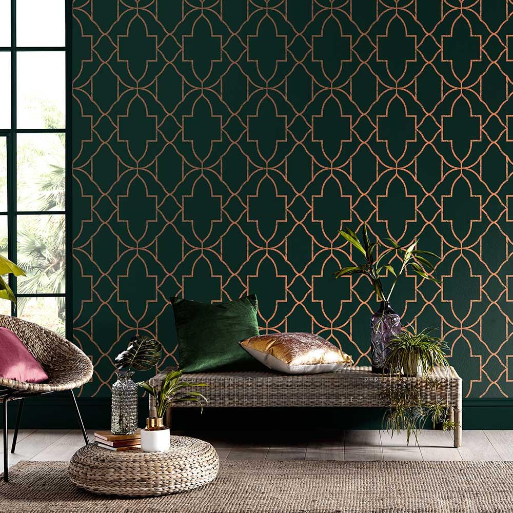 Versailles Wallpaper - Emerald - by Graham & Brown