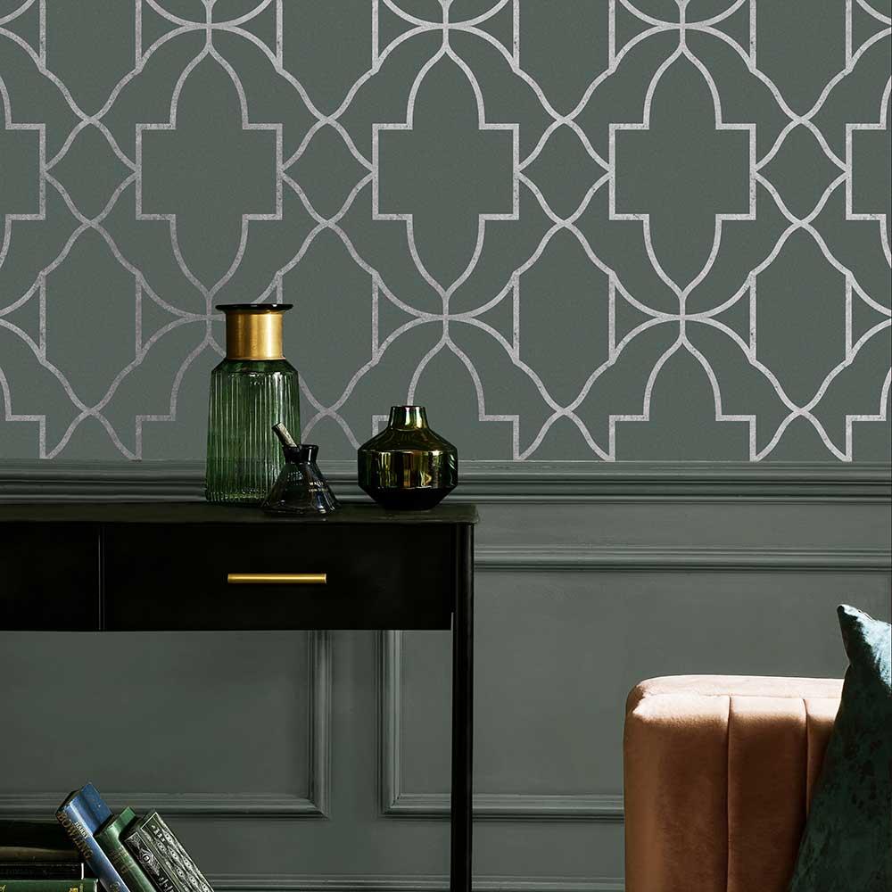 Versailles Wallpaper - Sage - by Graham & Brown