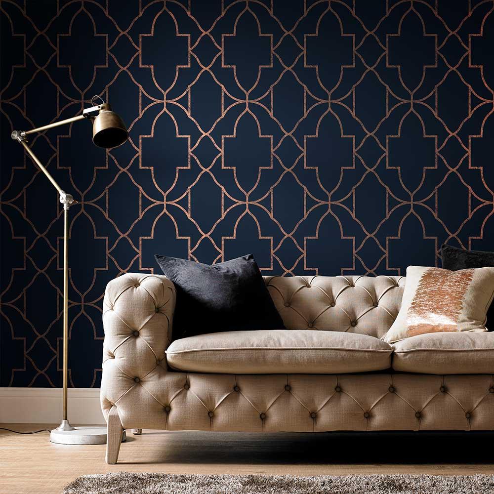 Versailles Wallpaper - Navy - by Graham & Brown