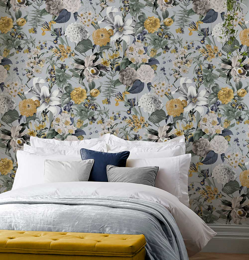 Glasshouse Flora Wallpaper - Sky - by Graham & Brown