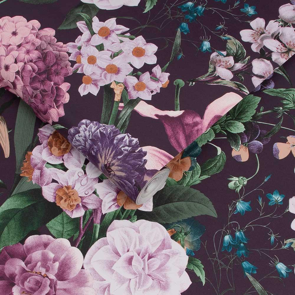 Glasshouse Flora Wallpaper - Amethyst - by Graham & Brown