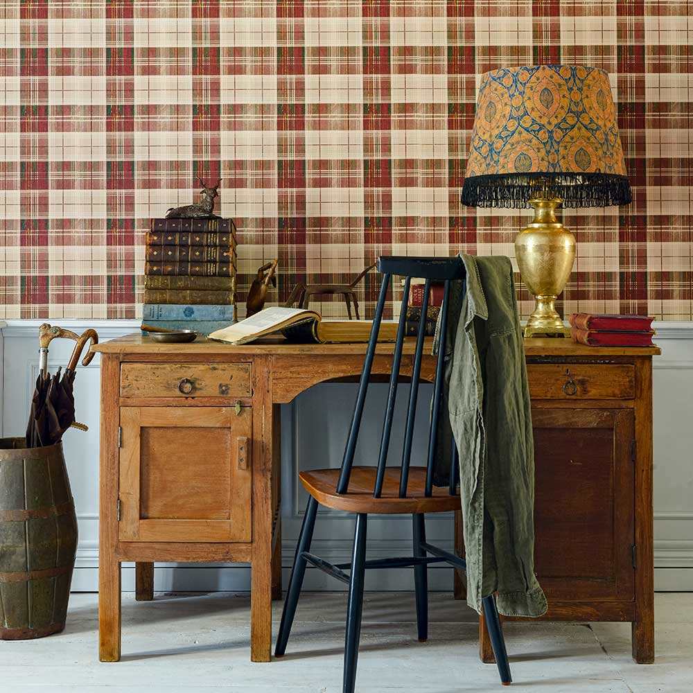 Country Plaid Wallpaper - Leather - by Mind the Gap