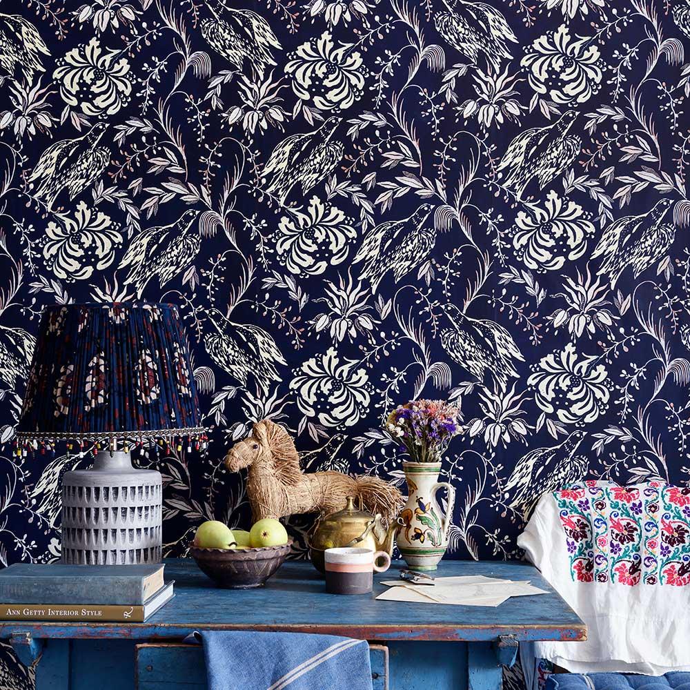 Folk Embroidery Wallpaper - Indigo - by Mind the Gap