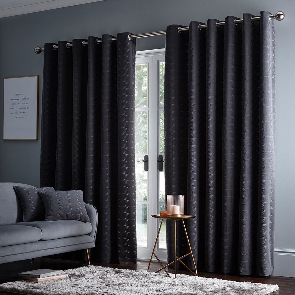 Lucca Eyelet Curtains Ready Made Curtains - Charcoal - by Studio G