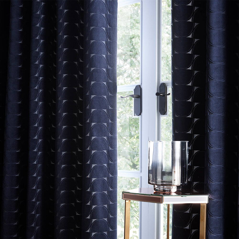 Lucca Eyelet Curtains Ready Made Curtains - Midnight - by Studio G