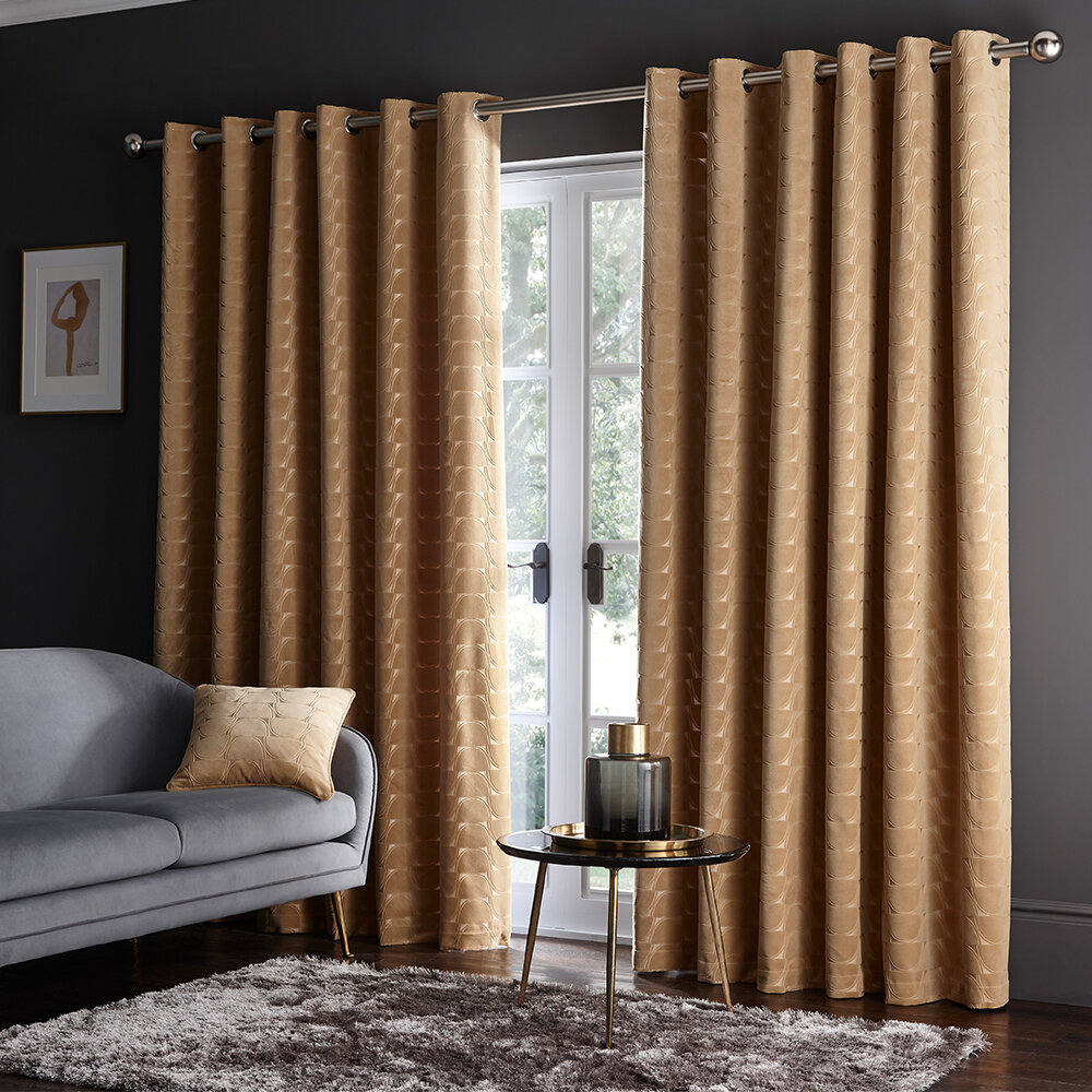 Lucca Eyelet Curtains Ready Made Curtains - Ochre - by Studio G