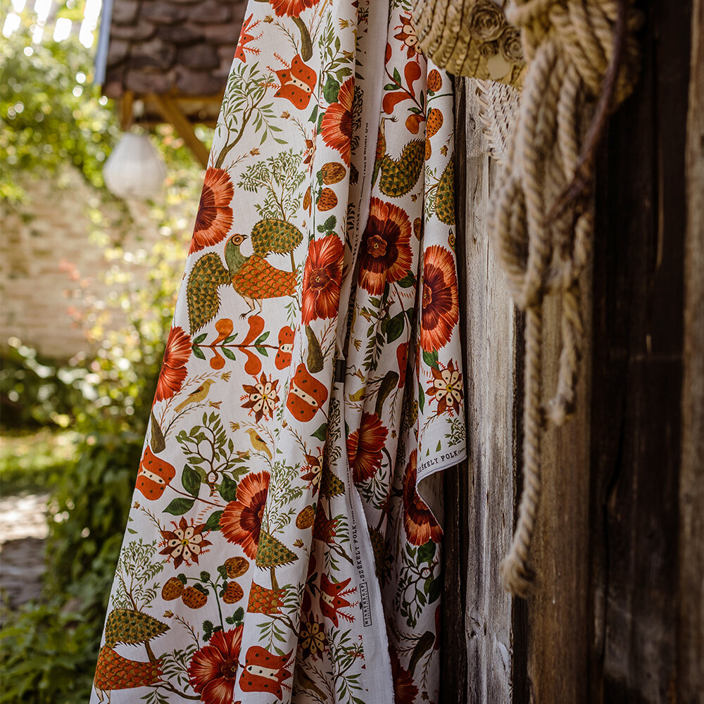Szekely Folk Fabric - Red/ White/ Green - by Mind the Gap