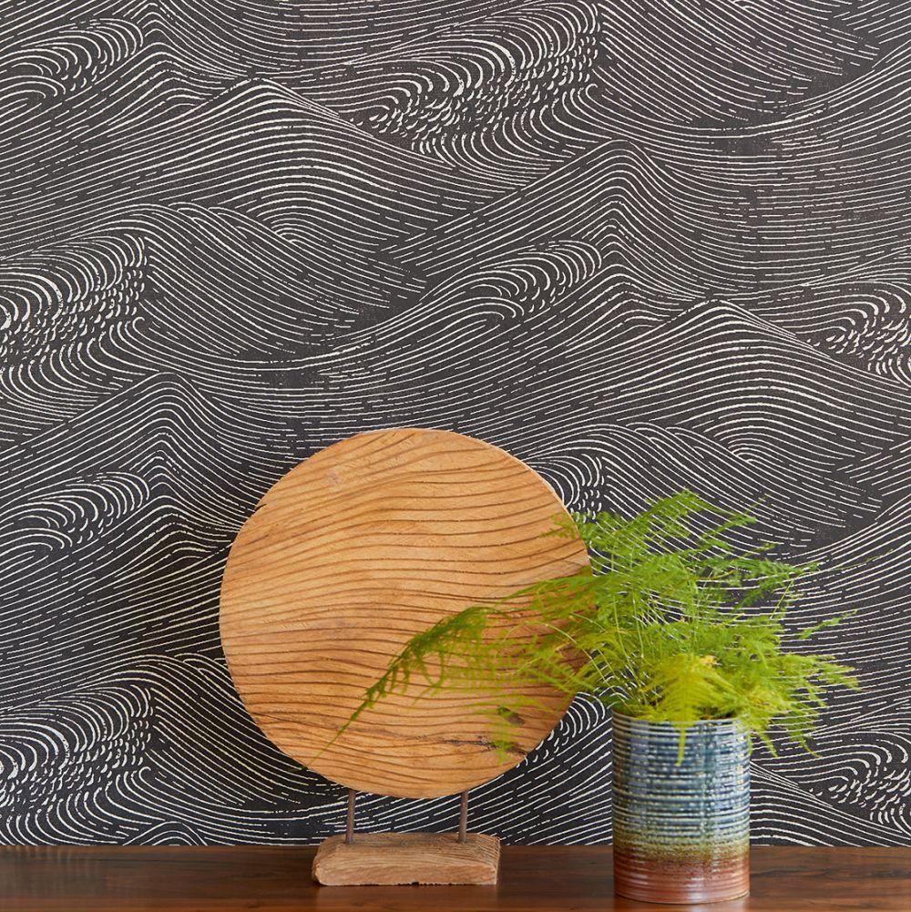 Waves Wallpaper - Black - by Eijffinger