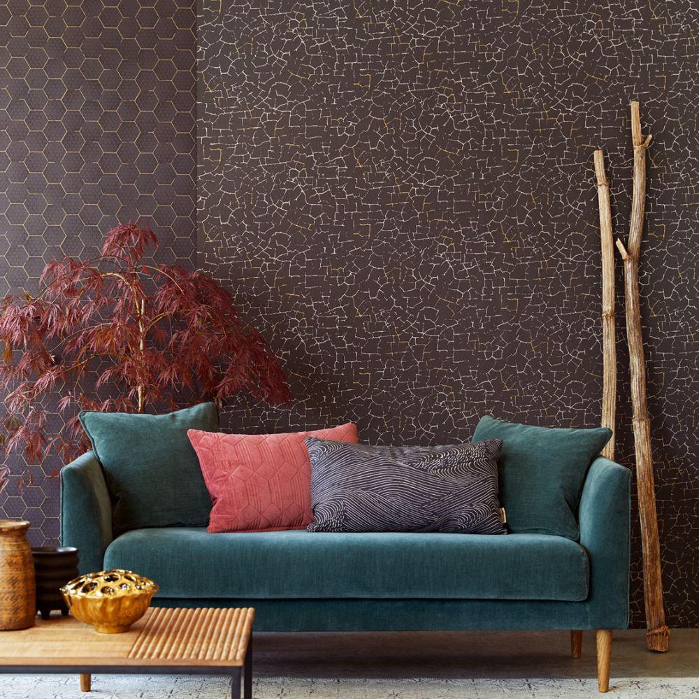 Crackle Wallpaper - Black - by Eijffinger