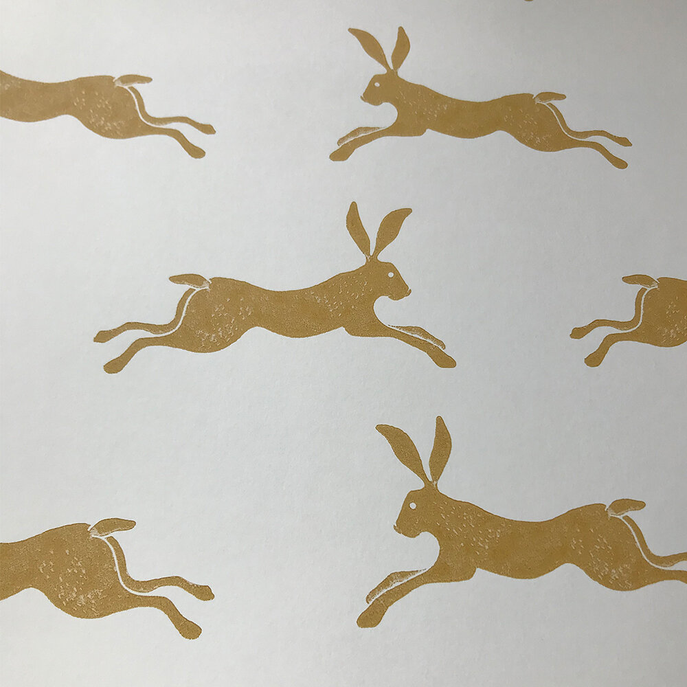 March Hare Wallpaper - Ochre - by Jane Churchill