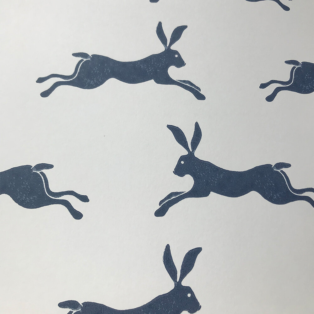 March Hare Wallpaper - Navy - by Jane Churchill