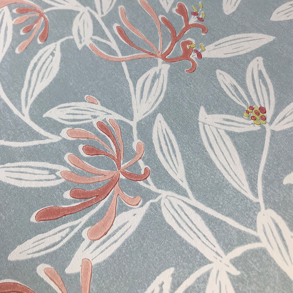 Nerissa Wallpaper - Soft Blue/ Pink - by Jane Churchill