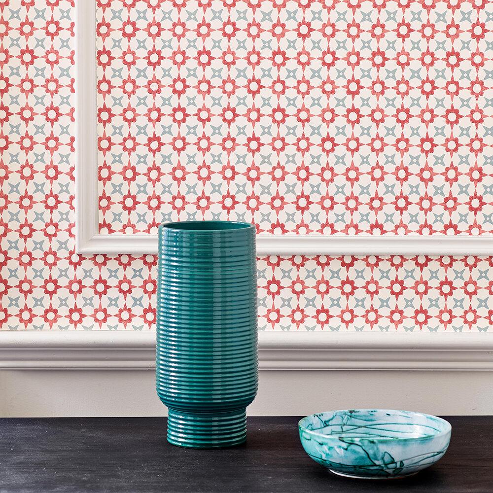 Tassi Wallpaper - Red/ Aqua - by Jane Churchill