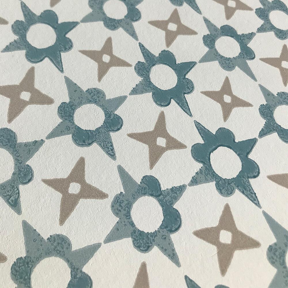 Tassi Wallpaper - Beige/ Aqua - by Jane Churchill