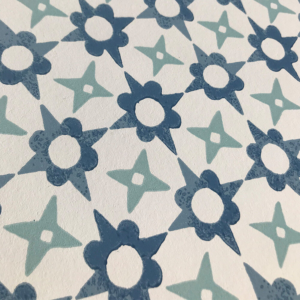 Tassi Wallpaper - Blue - by Jane Churchill