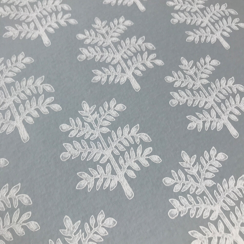 Rowan Wallpaper - Slate Blue - by Jane Churchill
