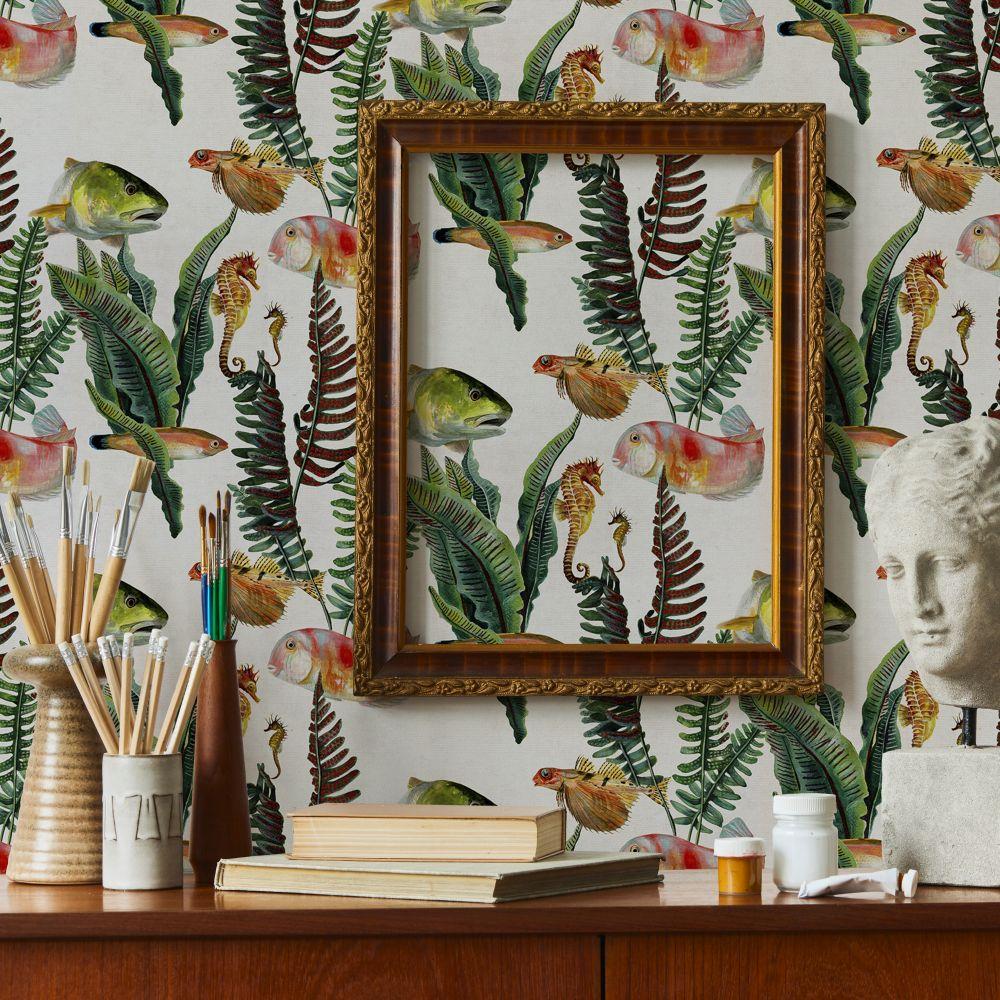 Bank of Fish Wallpaper - Swan - by Coordonne