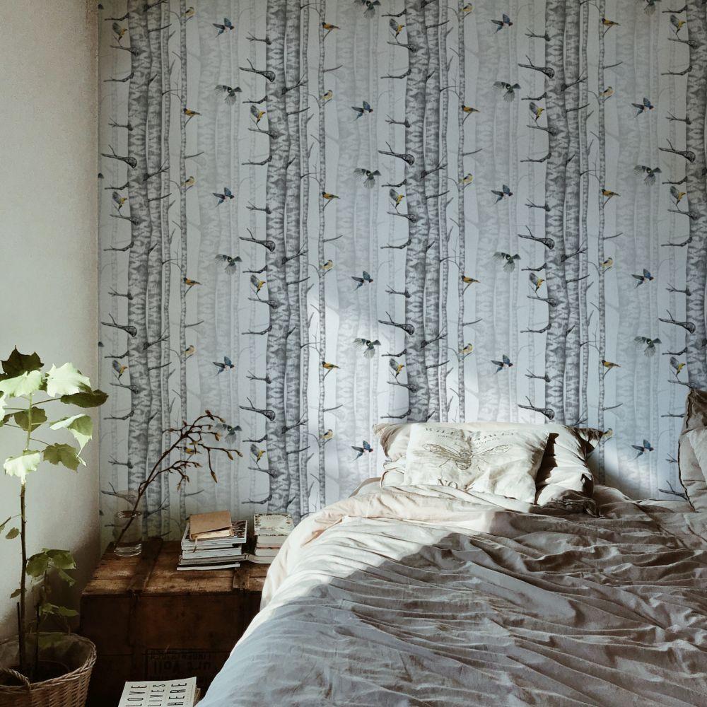 Birch Trees Wallpaper - Grey - by Coordonne