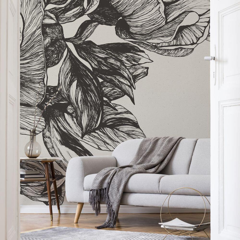 Giant Peonies Mural - Ink - by Coordonne