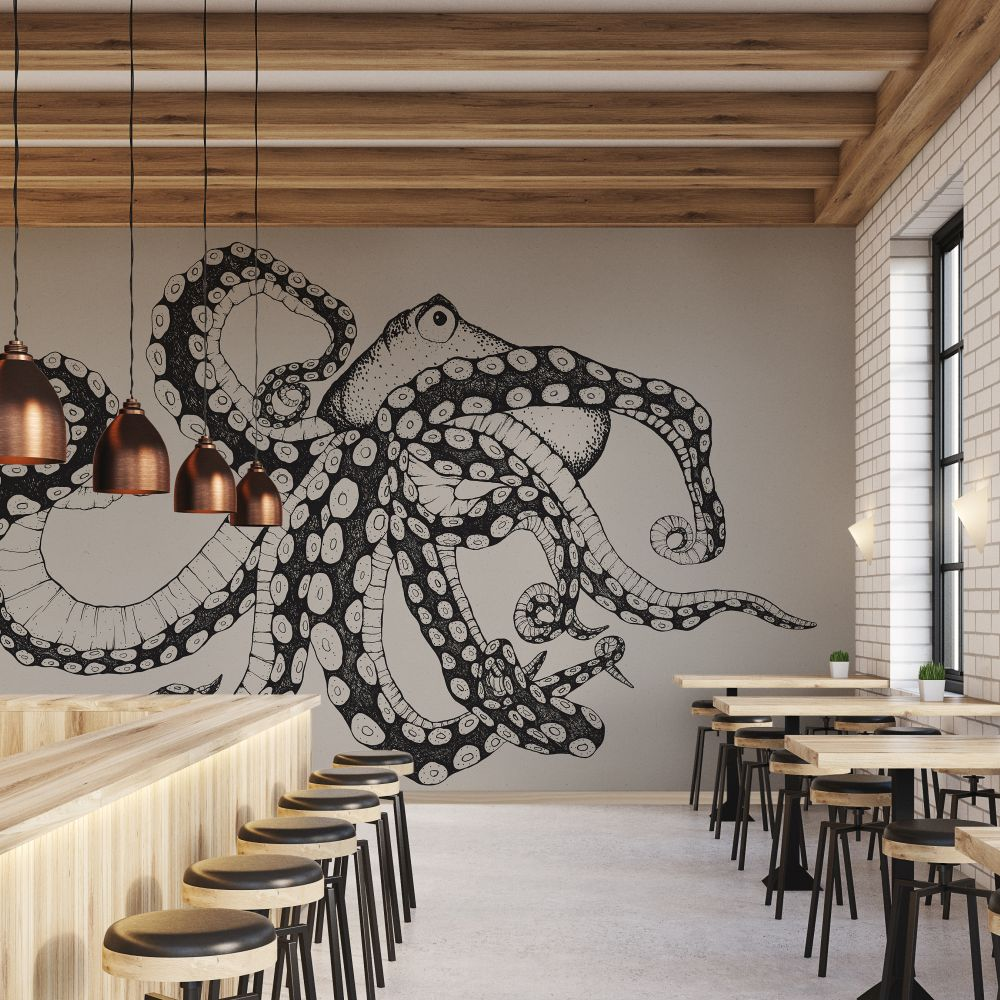 Octopus X-Ray Mural - Ink - by Coordonne