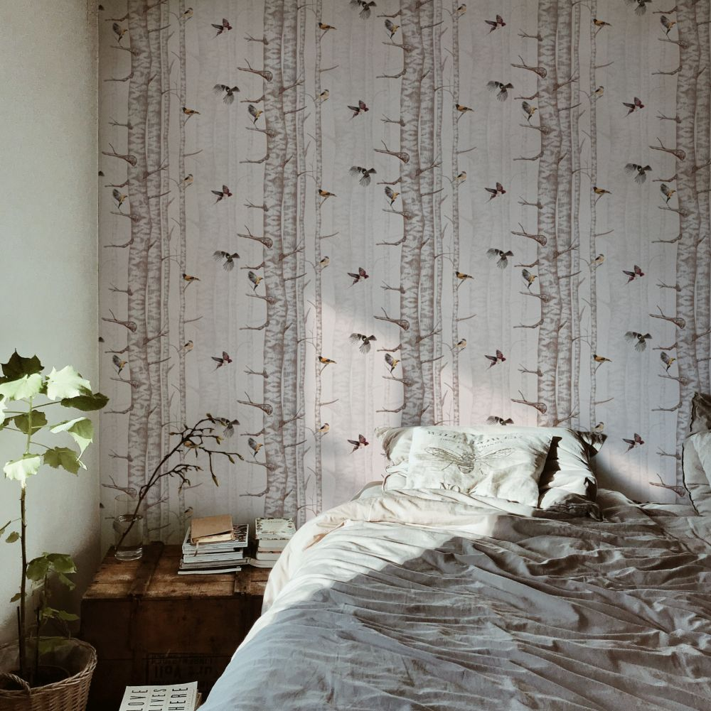 Birch Trees Wallpaper - Pink - by Coordonne