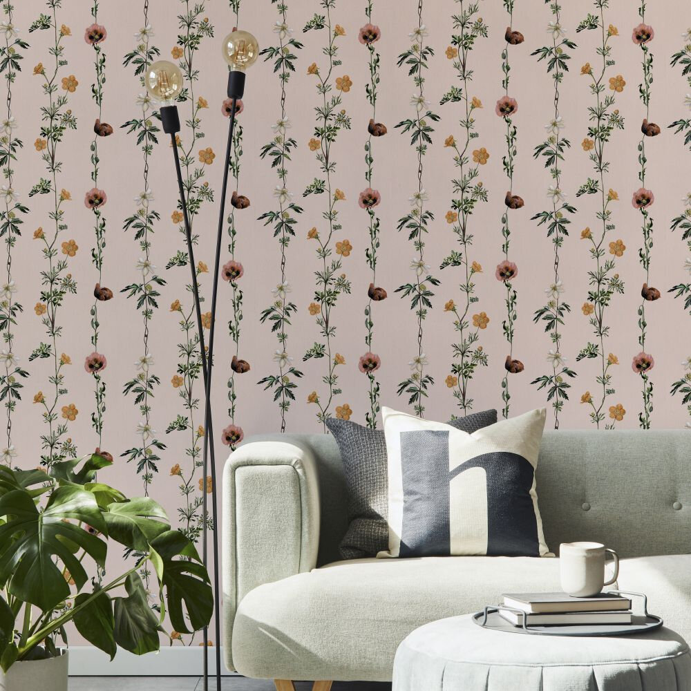 Climbing Flowers Wallpaper - Pink - by Coordonne