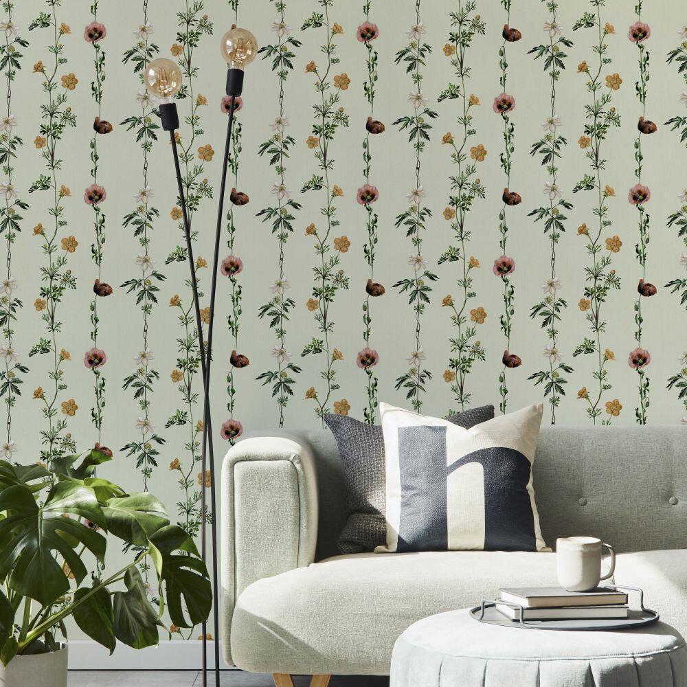Climbing Flowers Wallpaper - Melon - by Coordonne