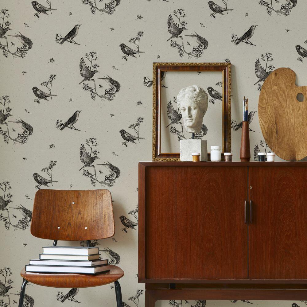Sweet Birds Wallpaper - Black - by Coordonne