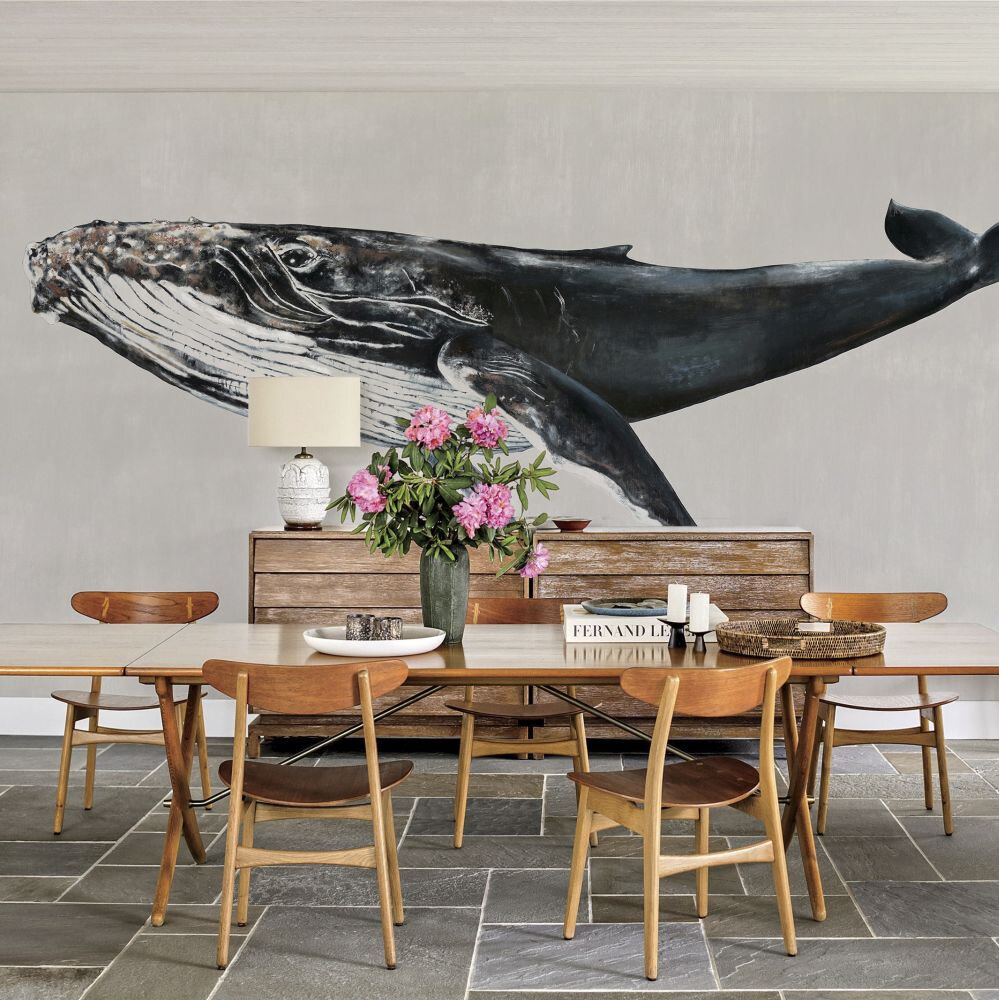Humpback Whale Mural - Grey - by Coordonne