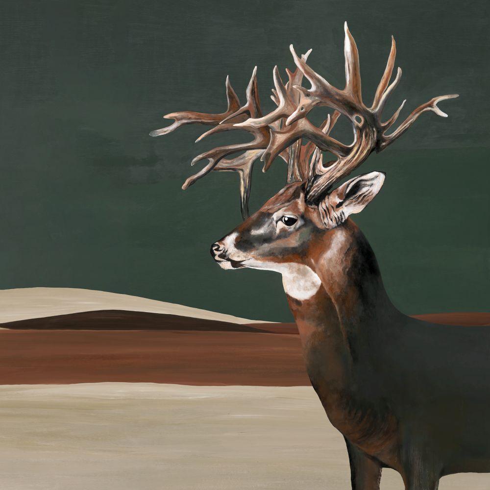 Great Deer Mural - Green - by Coordonne