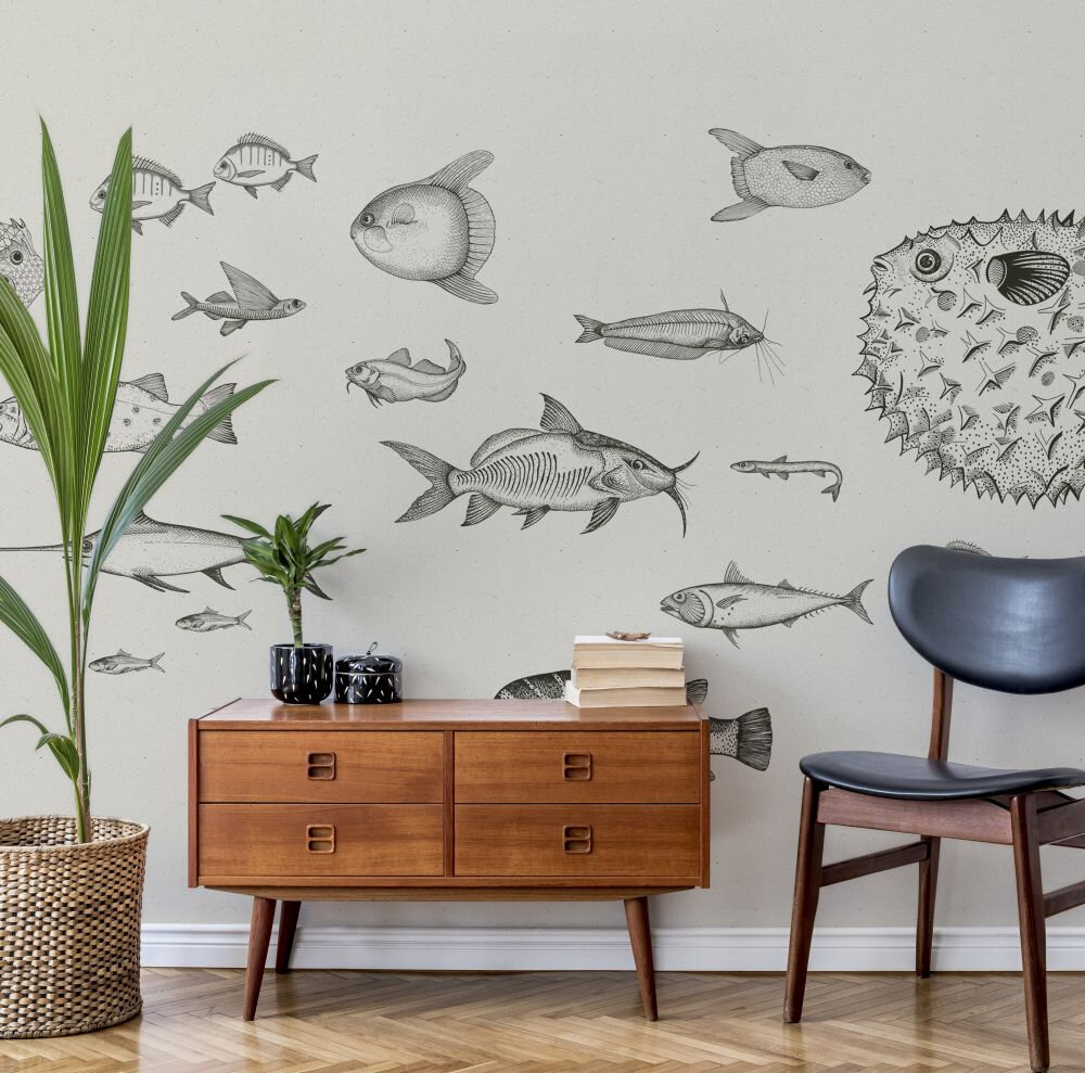 Sea Current Mural - Ink - by Coordonne