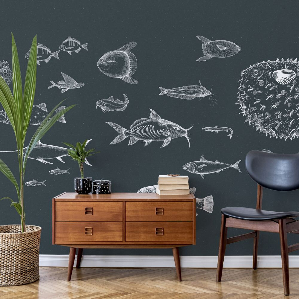 Sea Current Mural - Navy - by Coordonne