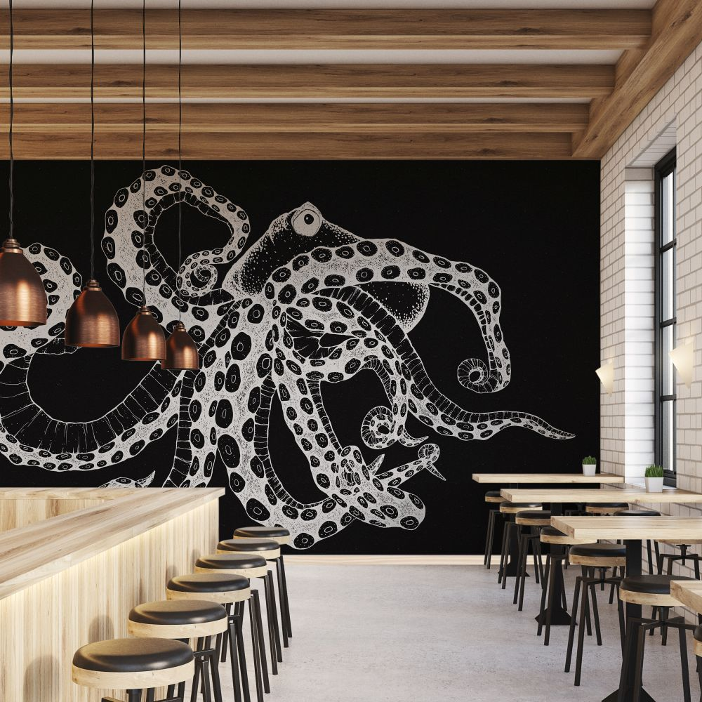 Octopus X-Ray Mural - Black - by Coordonne