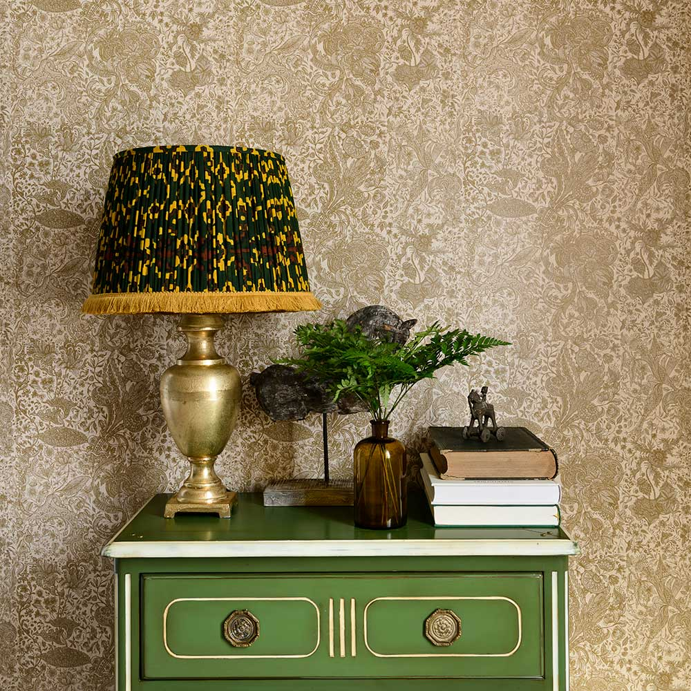 Sarkozi Embroidery Wallpaper - Taupe - by Mind the Gap