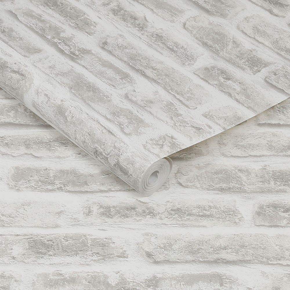 Realistic Brick Wallpaper - White - by Superfresco Easy
