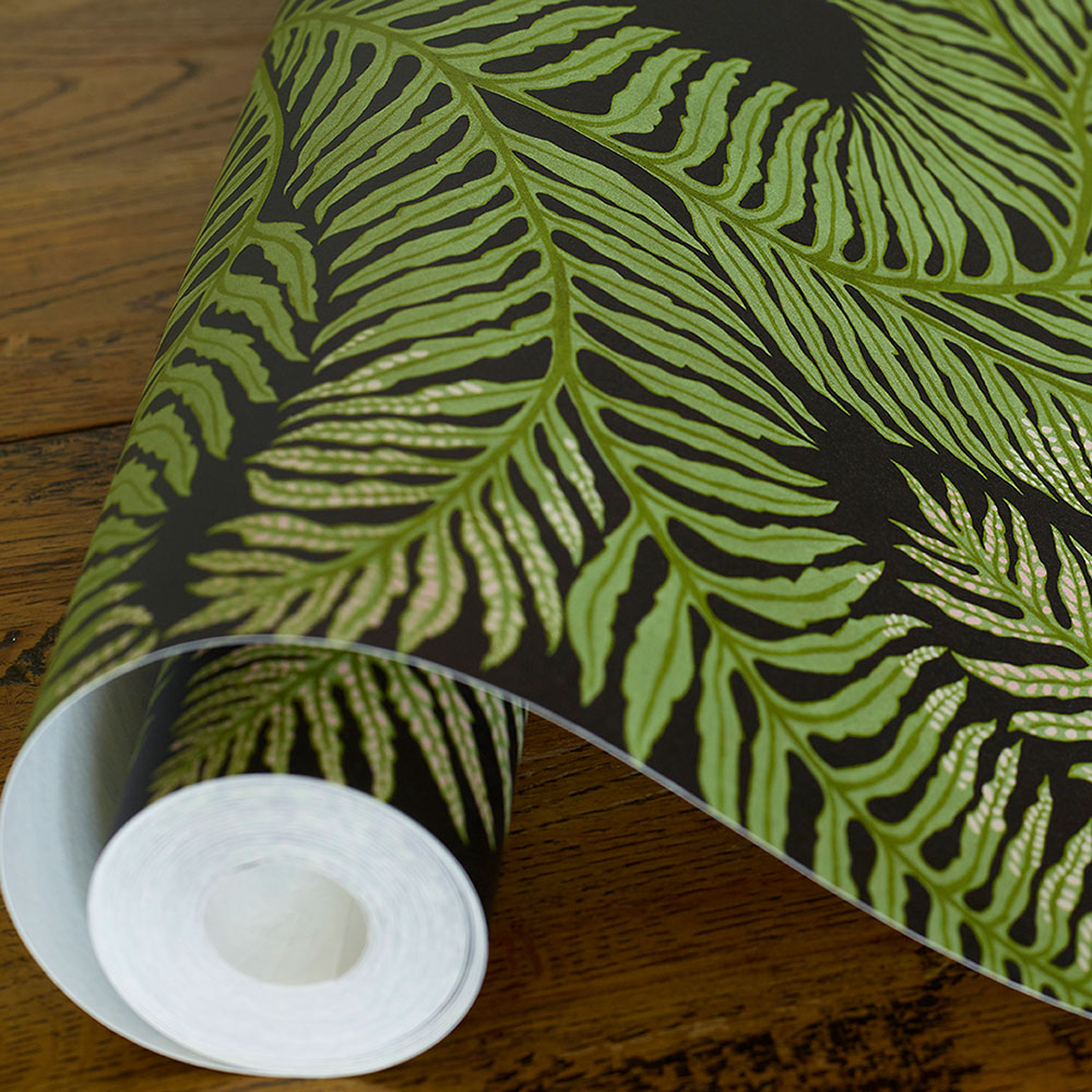 Bombe's Fernery Wallpaper - Dark grey and green - by Josephine Munsey