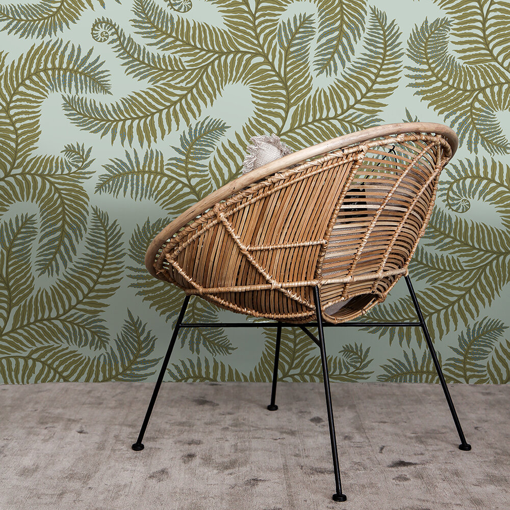Bombe's Fernery Wallpaper - Olive and Celadon - by Josephine Munsey