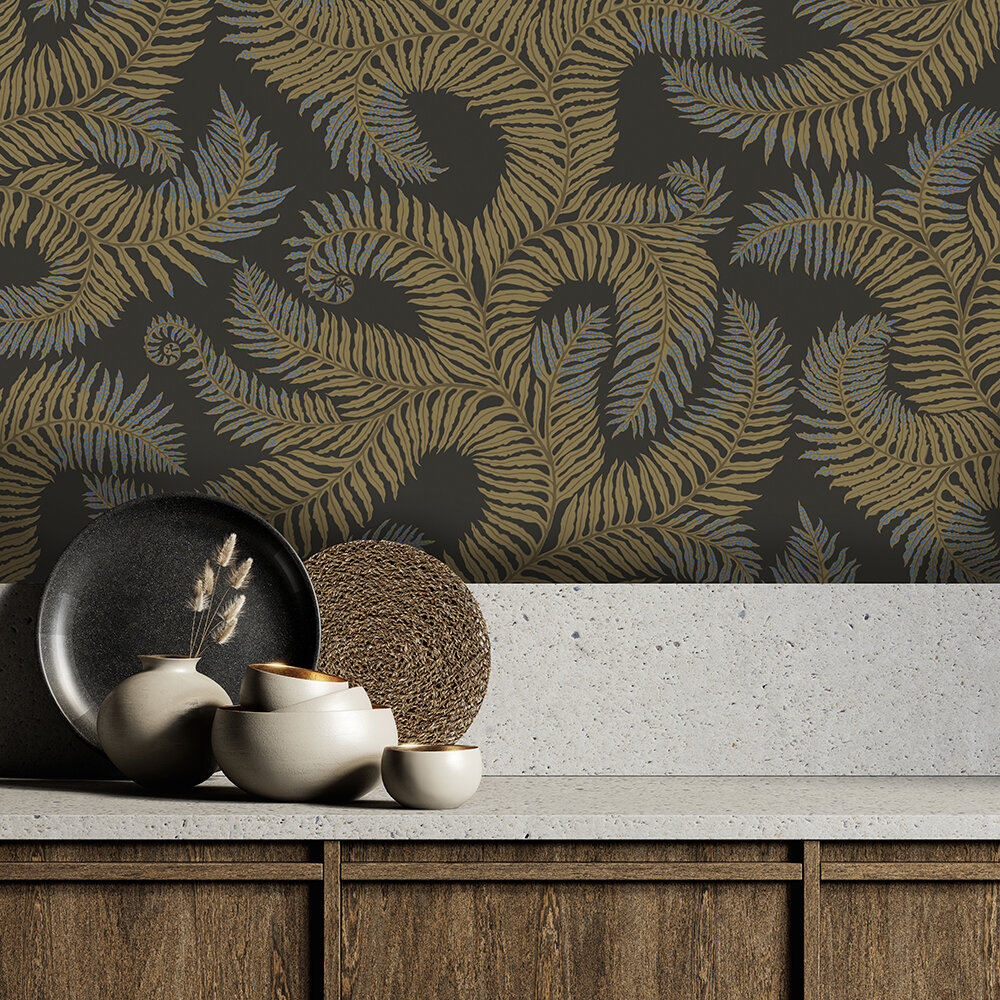 Bombe's Fernery Wallpaper - Olive and dark grey - by Josephine Munsey
