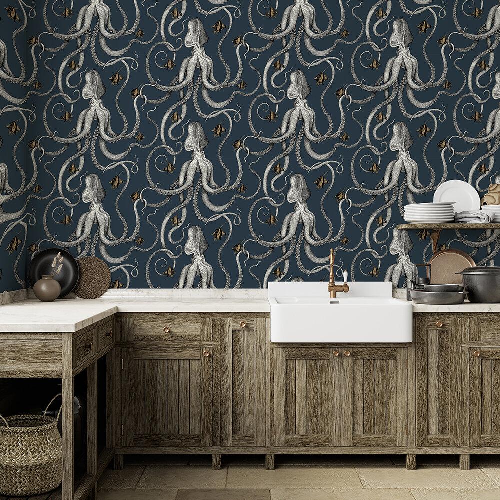 Octopoda Wallpaper - Deep sea blue - by Josephine Munsey